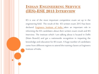 Indian Engineering Service (IES)-ESE 2013 Interview