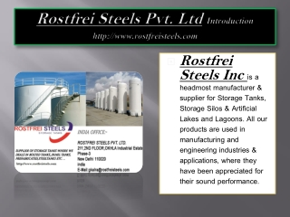 Manufacturer of Storage Tanks - Rostfrei Steels Pvt. Ltd.