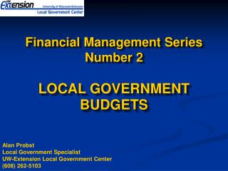 Financial Management Series Number 2 LOCAL GOVERNMENT BUDGETS