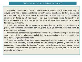 """TEXTO: """"EL RELOJ"""" de PÍO BAROJA (p. 146-147)"""