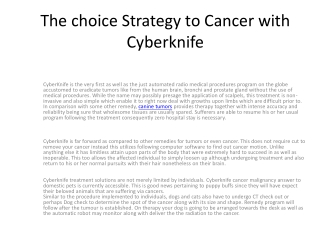 CyberKnife is the 1st as well as the just a
