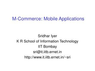 M-Commerce: Mobile Applications