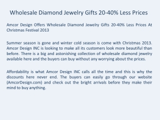 Wholesale Diamond Jewelry Gifts 20-40% Less Prices