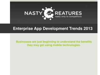 Enterprise App Development trends 2013