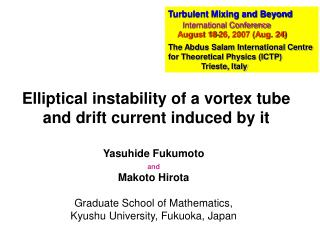 Elliptical instability of a vortex tube and drift current induced by it