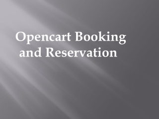 Opencart Booking and Reservation