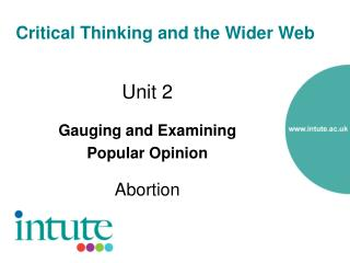 Critical Thinking and the Wider Web