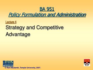 Lecture 4 Strategy and Competitive Advantage