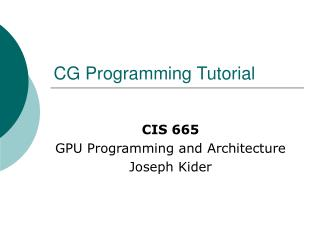 CG Programming Tutorial
