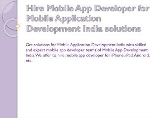Hire Mobile Application Developer India