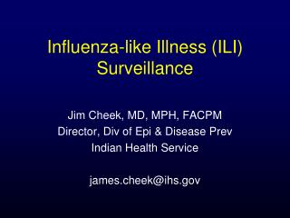 Influenza-like Illness ILI Surveillance