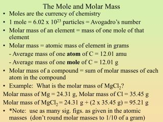 The Mole and Molar Mass