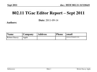 802.11 TGac Editor Report – Sept 2011