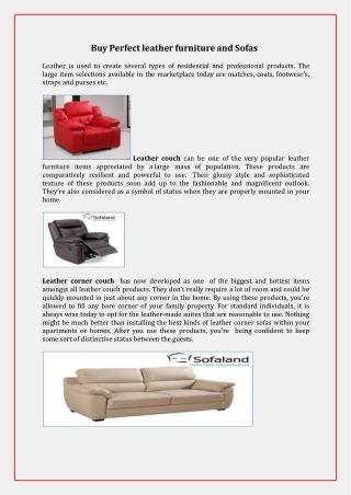 Buy Perfect leather furniture and Sofas, Couches, Settee