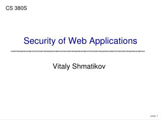 Security of Web Applications