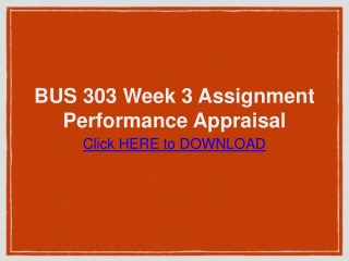 BUS 303 Week 3 Assignment Performance Appraisal