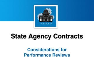 State Agency Contracts Considerations for  Performance Reviews