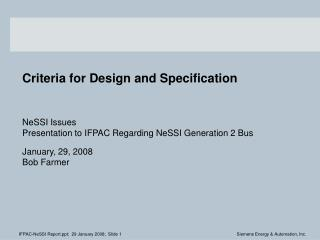 Criteria for Design and Specification