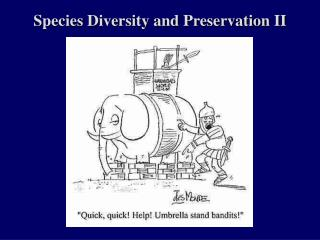 Species Diversity and Preservation II