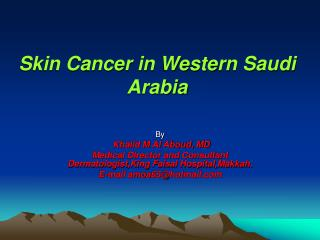 Skin Cancer in Western Saudi Arabia