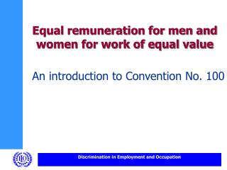 Equal remuneration for men and women for work of equal value