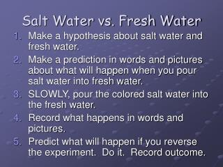 Salt Water vs. Fresh Water