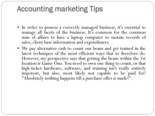 Accounting marketing Tips