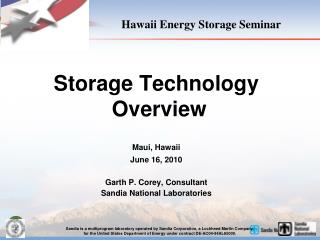 Hawaii Energy Storage Seminar