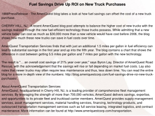 Fuel Savings Drive Up ROI on New Truck Purchases