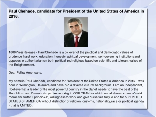 Paul Chehade, candidate for President of the United States