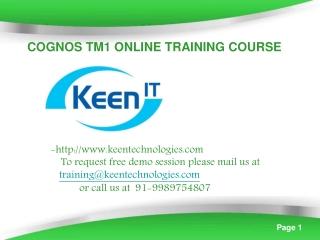 cognos tm1 online training