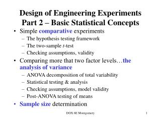 Design of Engineering Experiments Part 2 – Basic Statistical Concepts
