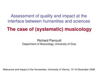 Assessment of quality and impact at the interface between humanities and sciences