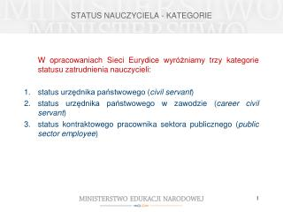 STATUS NAUCZYCIELA - KATEGORIE