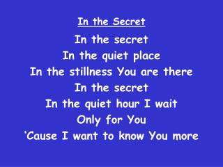 In the Secret