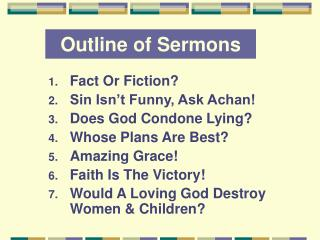 Outline of Sermons
