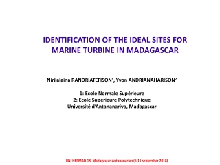 IDENTIFICATION OF THE IDEAL SITES FOR MARINE TURBINE IN MADAGASCAR
