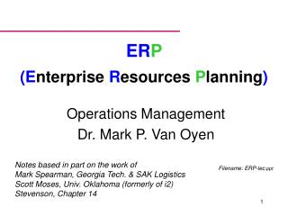 ERP  Enterprise Resources Planning