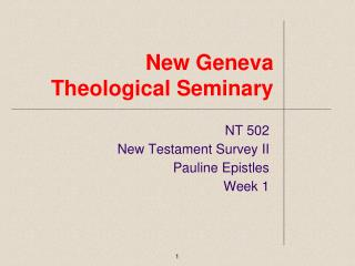 New Geneva Theological Seminary