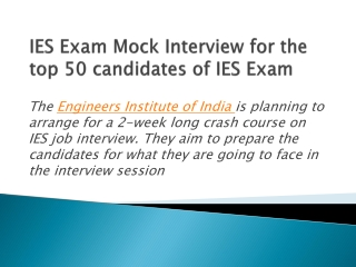 IES Exam Mock Interview for the top 50 candidates of IES Exa