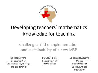 Developing teachers  mathematics knowledge for teaching