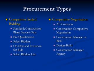 Procurement Types