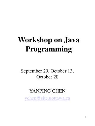Workshop on Java Programming