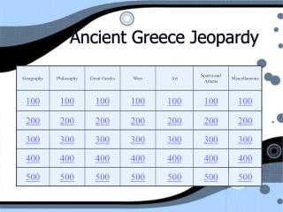 Ancient Greece Jeopardy