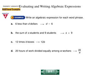 Evaluating and Writing Algebraic Expressions