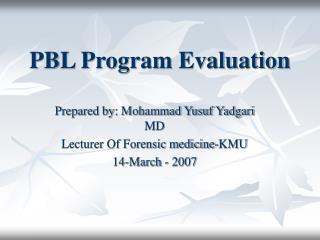 PBL Program Evaluation