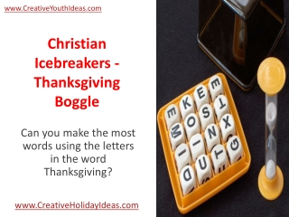 Christian Icebreakers - Thanksgiving Boggle