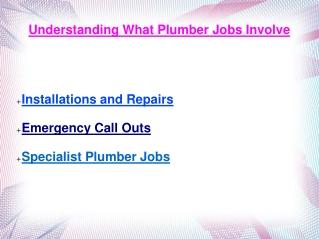 Understanding What Plumber Jobs Involve