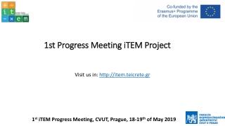 1st Progress Meeting iTEM Project