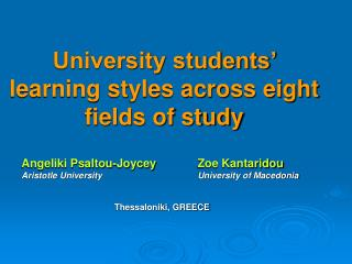 University students' learning styles across eight fields of study